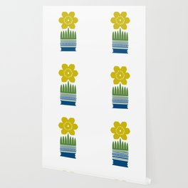 Nordic Yellow Flower Wallpaper