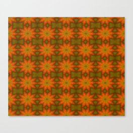 Autumnal Leaves Red and Green Repeating Pattern Canvas Print