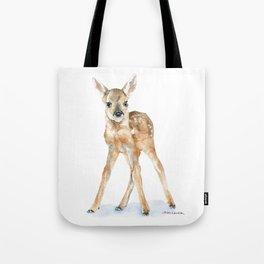 Deer Fawn Standing -Horizontal format - Watercolor Painting Tote Bag