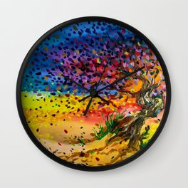 Golden Twisted Tree Expressive Painting by annmariescreations Wall Clock