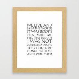 We Live And Breathe Words Framed Art Print