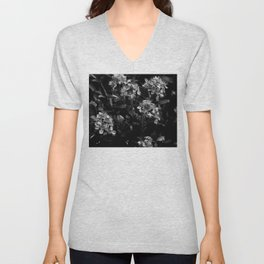 Stopping to Smell the Flowers at the Top of the Mountain Black & White Unisex V-Neck