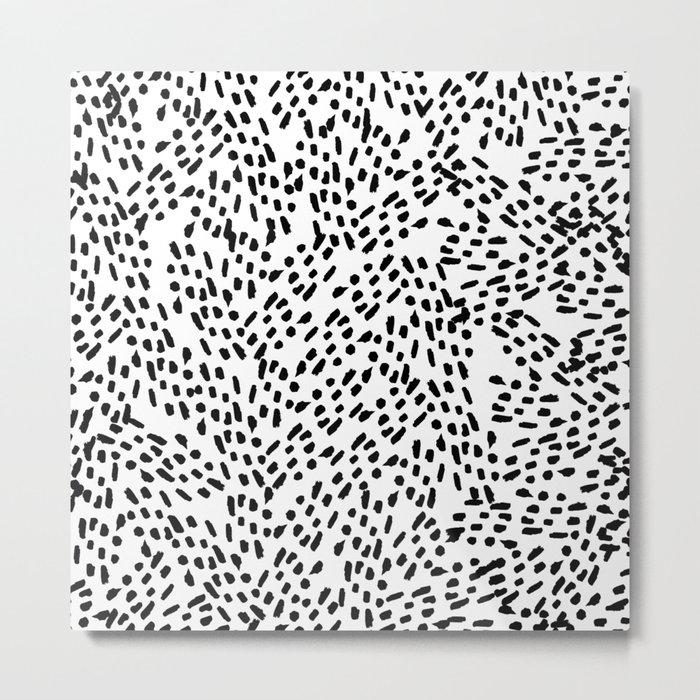 Simple modern handdrawn watercolor black brushstrokes Metal Print