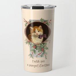 PURRFECT CHRISTMAS greeting card Travel Mug