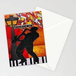 Bourbon St. Jazz Saxophone Player Stationery Cards