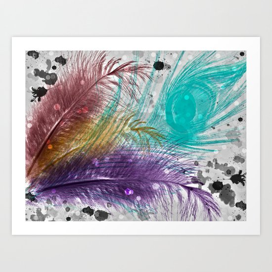 Feathers and Ink Art Print
