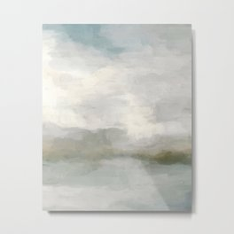 Modern Abstract Painting, Light Teal, Sage Green, Gray Cloudy Weather Digital Prints Wall Art, Ocean Metal Print