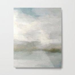 Modern Abstract Painting, Light Teal, Sage Green, Gray Cloudy Weather Digital Prints Wall Art, Ocean Metal Print