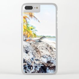 lizard at the beach Clear iPhone Case