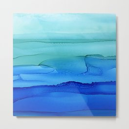 Alcohol Ink Seascape Metal Print