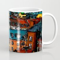 copenhagen Mugs featuring Copenhagen Rooftops by E.M. Shafer