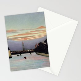 Sunset and Neon Lights at the The Eiffel Tower, Paris, France by Henri Rousseau Stationery Cards