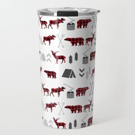 Camping cabin life chalet all day plaid moose deer bear pattern outdoors nature lover Travel Mug