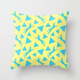 Gorgeous wild jumping cheetahs and abstract blue geometric triangle shapes. Stylish classy elegant sunny pastel yellow retro vintage animal whimsical nature pattern. Wilderness. Throw Pillow