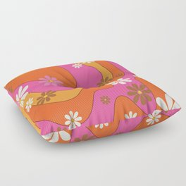 Groovy 60's and 70's Flower Power Pattern Floor Pillow