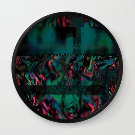 Flora Celeste Jade Glitch Wall Clock