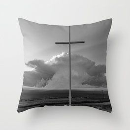 Higher Power - Cross in Front of Storm in Oklahoma in Black and White Throw Pillow