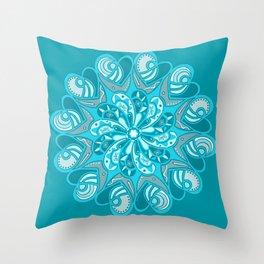 True Teal Heart Mandala Throw Pillow