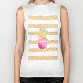Modern pink watercolor pineapple faux gold glitter stripes Biker Tank