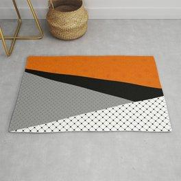 Abstract black orange painting . Rug