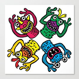 Retro Toy Finger Monsters Canvas Print