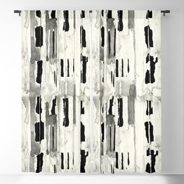 Minimal Black and Cream Abstract Design Blackout Curtain