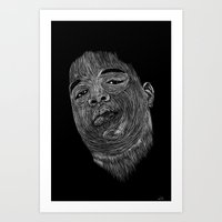 notorious big Art Prints featuring Biggie ( Notorious Big ) by William