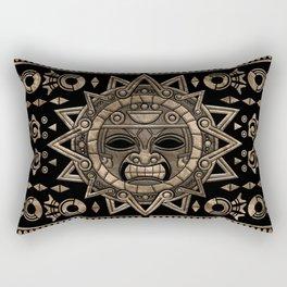 Aztec Sun God Gold and Black Rectangular Pillow
