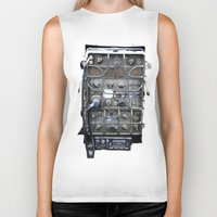 military Biker Tanks featuring Vintage Military Radio  by TomConwayArt