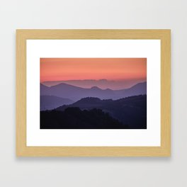 Purple sunset at the mountains. Last night Framed Art Print