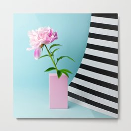 Peony with stripes Metal Print