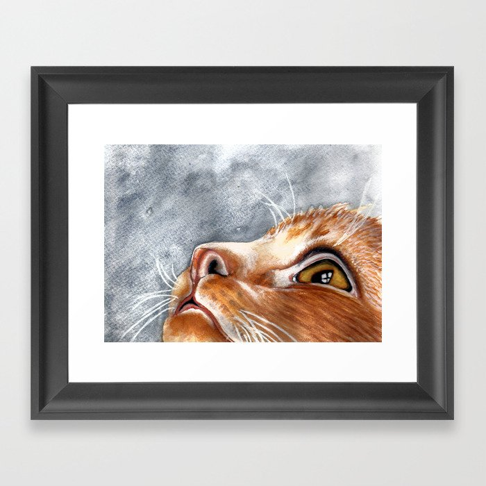 Ginger Cat Watercolour Painting Framed Art Print by scarletwild