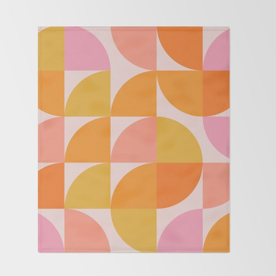 Mid Century Mod Geometry in Pink and Orange by junejournal
