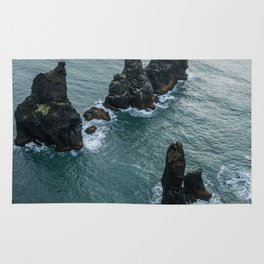 Sea stacks on the Icelandic Coast near Vik - Landscape Photography Rug