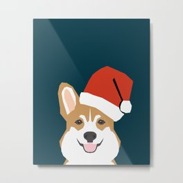 Corgi Christmas  santa claus costume for cute welsh corgi pet dog lover gift for the corgi person Metal Print