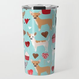 Chihuahua love hearts cupcakes valentines day gift for chiwawa lovers Travel Mug