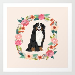 bernese mountain dog floral wreath dog gifts pet portraits Art Print