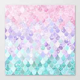 Mermaid Pastel Iridescent Canvas Print