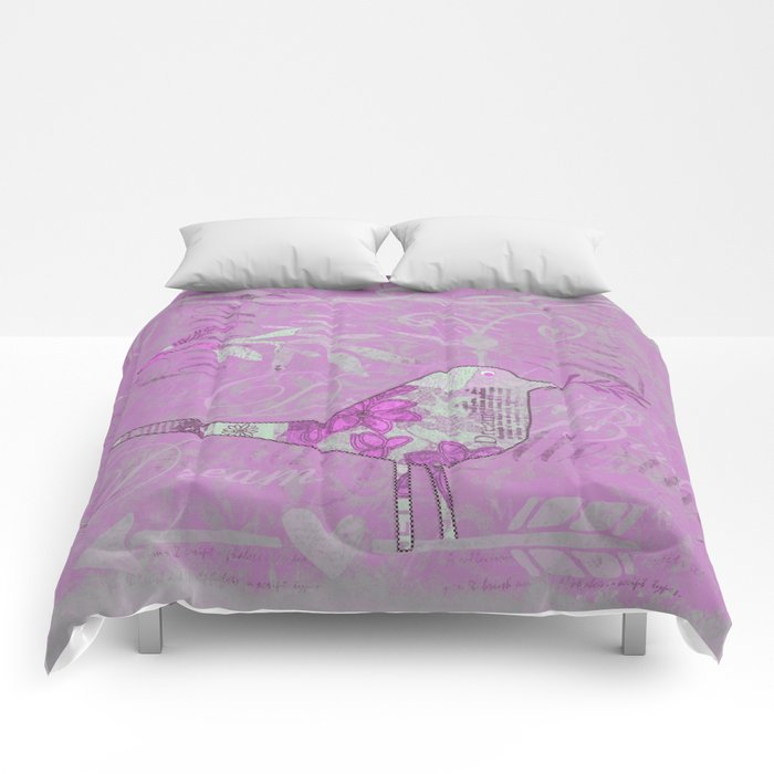 pink bird typography collage Comforters