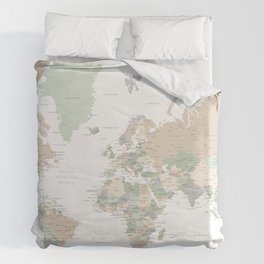 """World map with cities, """"Anouk"""" Duvet Cover"""
