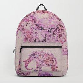 Pink Elephant Mixed Media Art Backpack