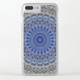 Gray and blue mandala Clear iPhone Case