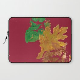 Fall Leaves with Red Background Laptop Sleeve