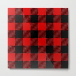 Red Lumberjack Pattern Metal Print