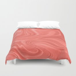 Marble Agate Swirl (Pantone Living Coral) Duvet Cover