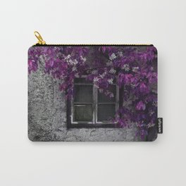Purple Floral Orchid Vines, Window and Gray Stone Carry-All Pouch
