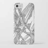 blueprint iPhone & iPod Cases featuring Blueprint - monochrome by Etch by Design