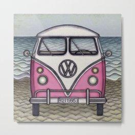 Hippie Van on Beach Metal Print