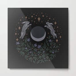 Hares and the Moon Metal Print
