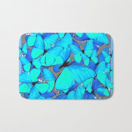Shades of Turquoise Blue Butterflies Swarming Art Bath Mat